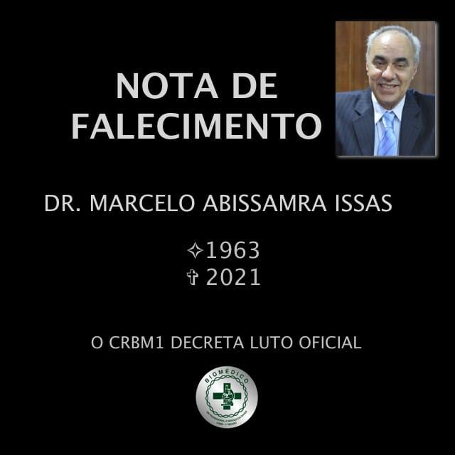 Faleceu hoje, 03 de maio, na capital paulista o Conselheiro CRBM1 Dr. Marcelo Abissamra Issas